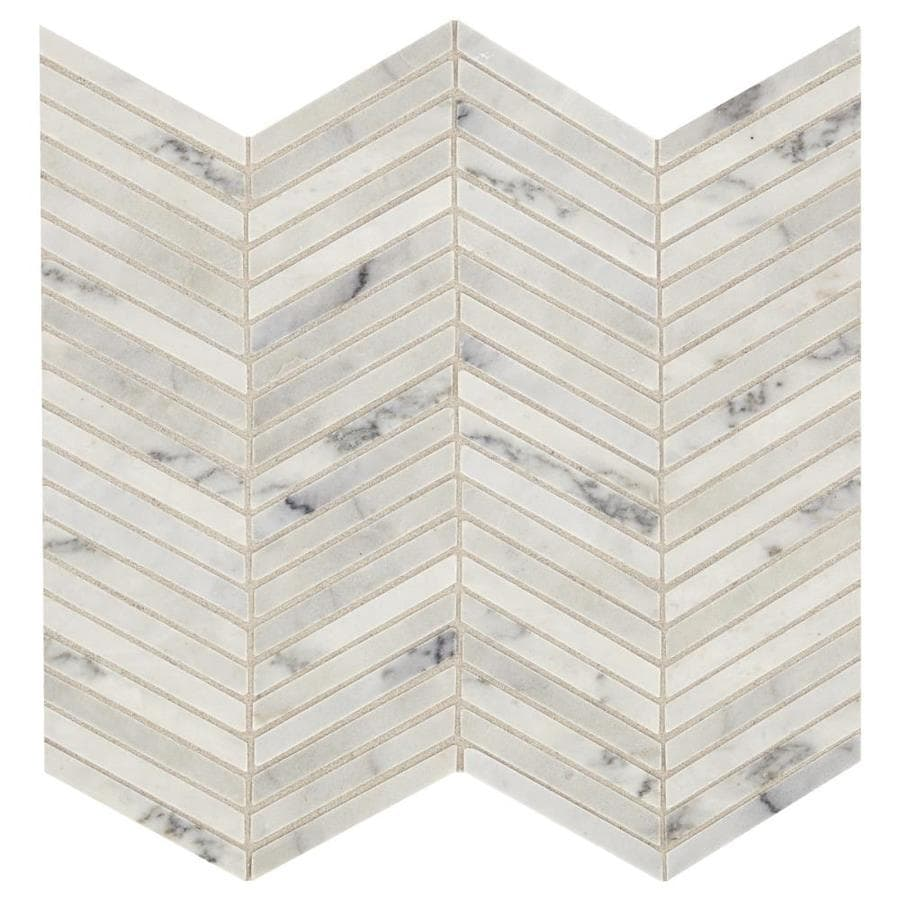 american olean genuine stone smoke white 12 in x 12 in polished natural stone marble chevron stone look floor and wall tile