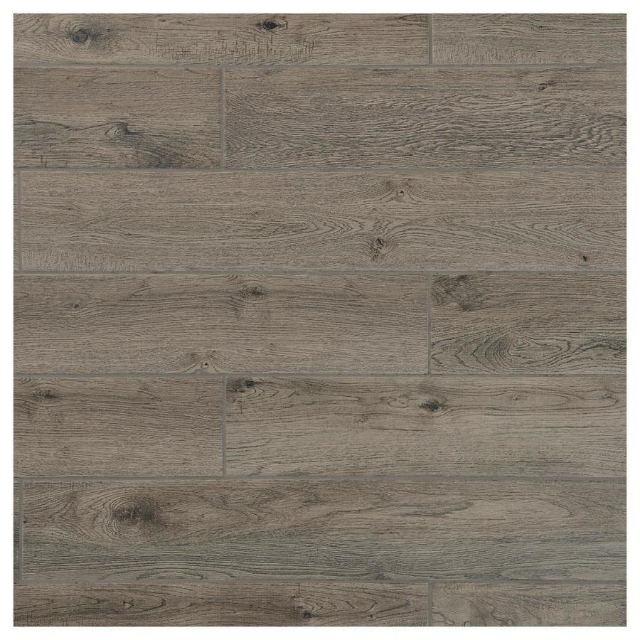 mohawk foreverstyle smoke wood 6 in x 36 in matte porcelain wood look floor tile