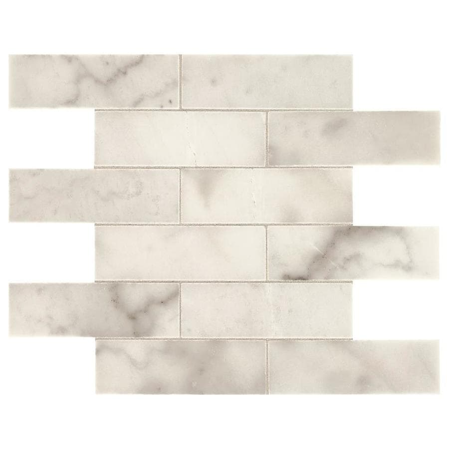 american olean genuine stone sterling white 11 in x 14 in unglazed natural stone marble brick marble look floor tile lowes com