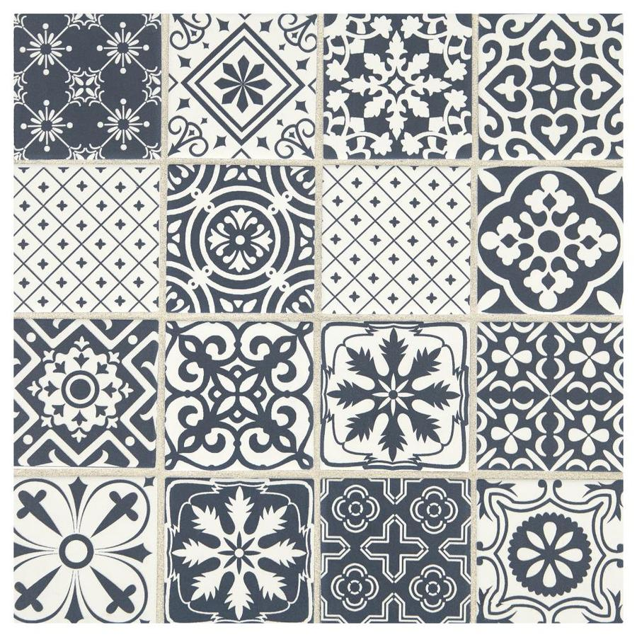 american olean vitascape midnight satin 12 in x 12 in satin ceramic mixed pattern floor and wall tile