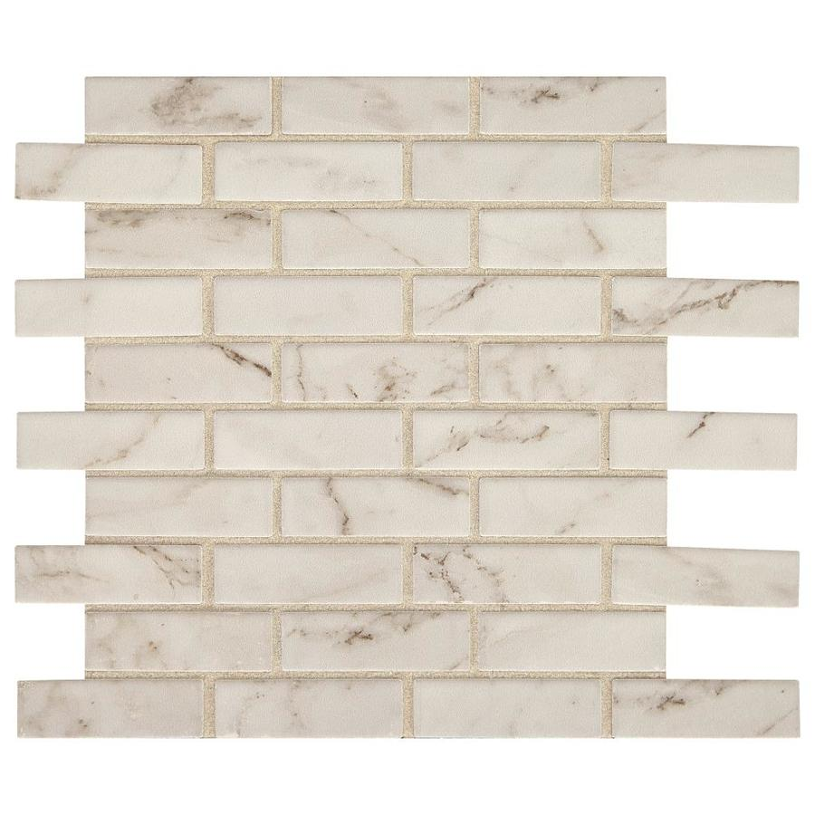 american olean marble manor calacatta 12 in x 12 in glossy ceramic marble brick wall tile