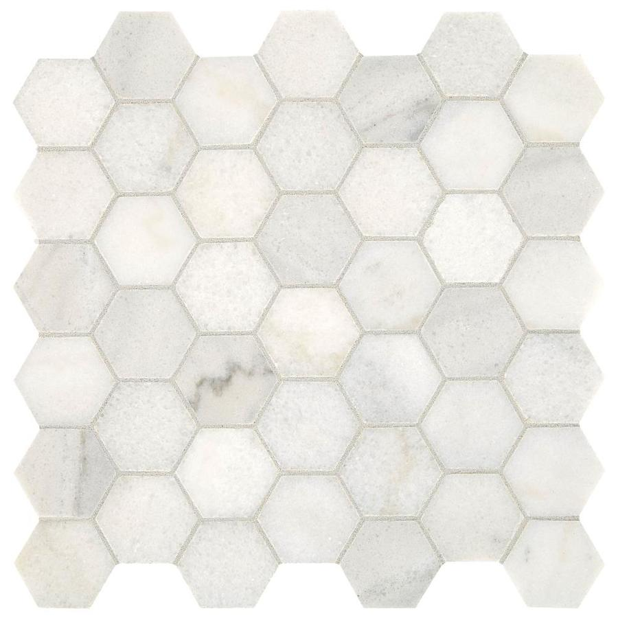 american olean genuine stone sterling white 12 in x 12 in unglazed natural stone marble hexagon floor and wall tile