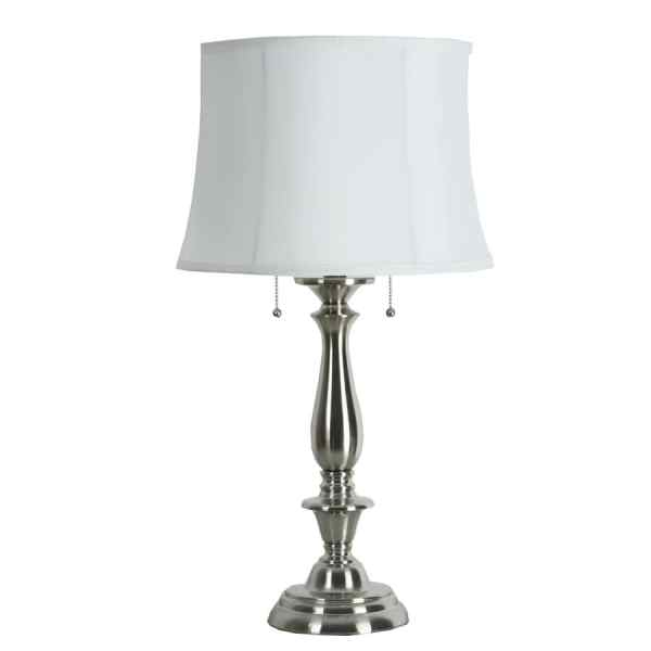 Allen Roth Woodbine 28-in Brushed Nickel Table Lamp With