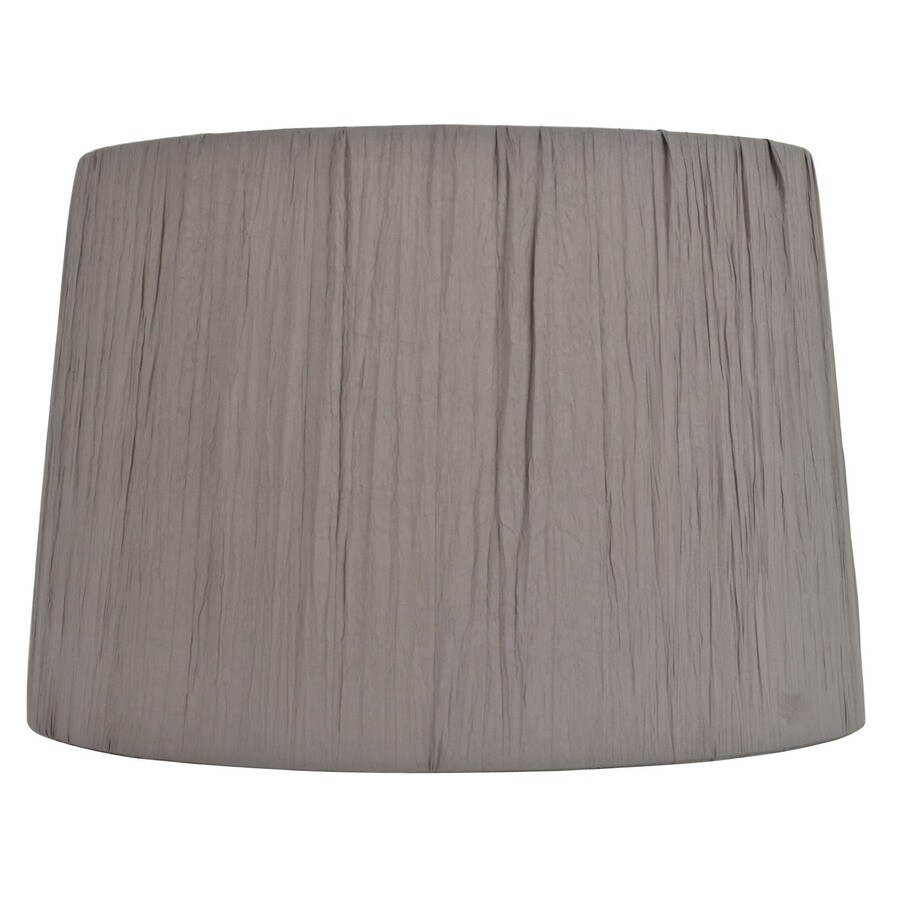 Shop Allen Roth 10 In X 15 In Gray Fabric Drum Lamp