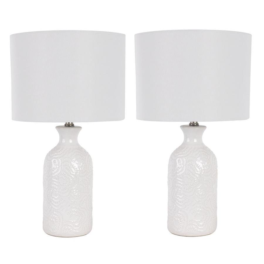 white rotary socket table lamp