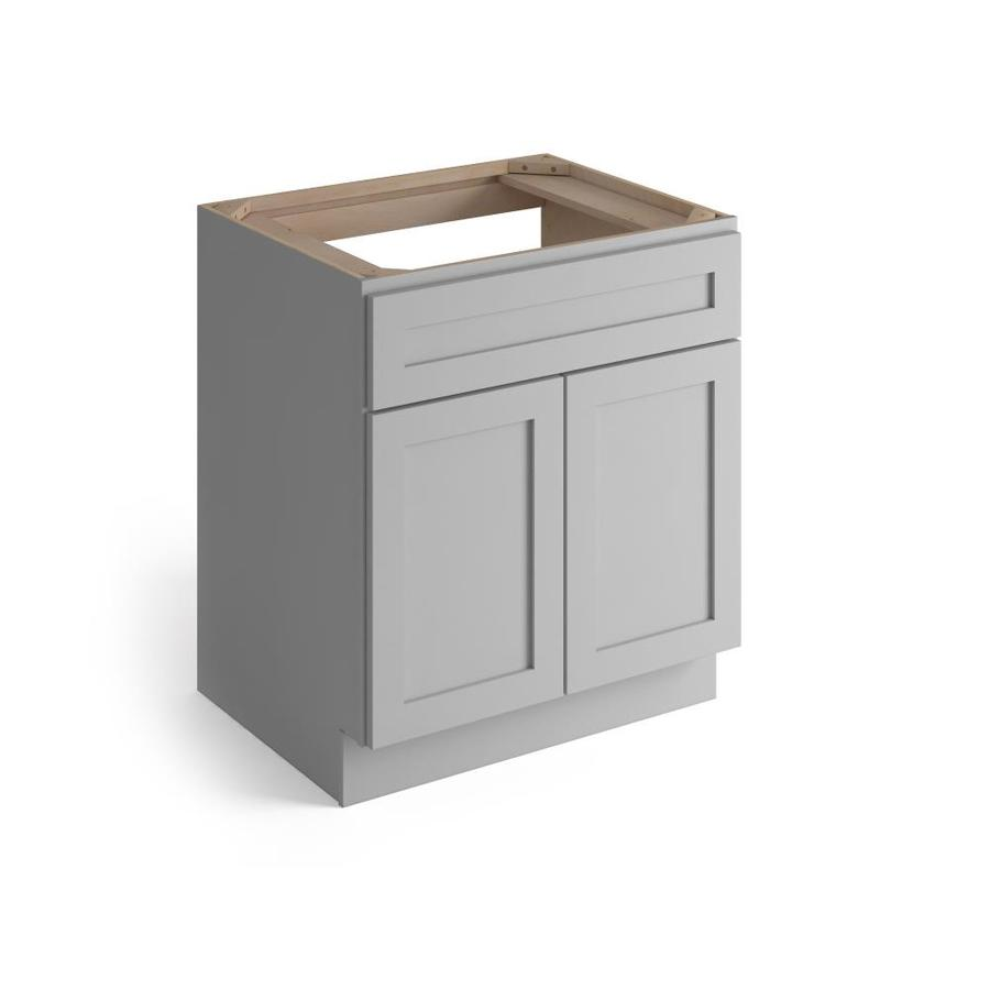 valleywood cabinetry 33 in w x 34 5 in h x 24 in d proper gray birch sink base stock cabinet