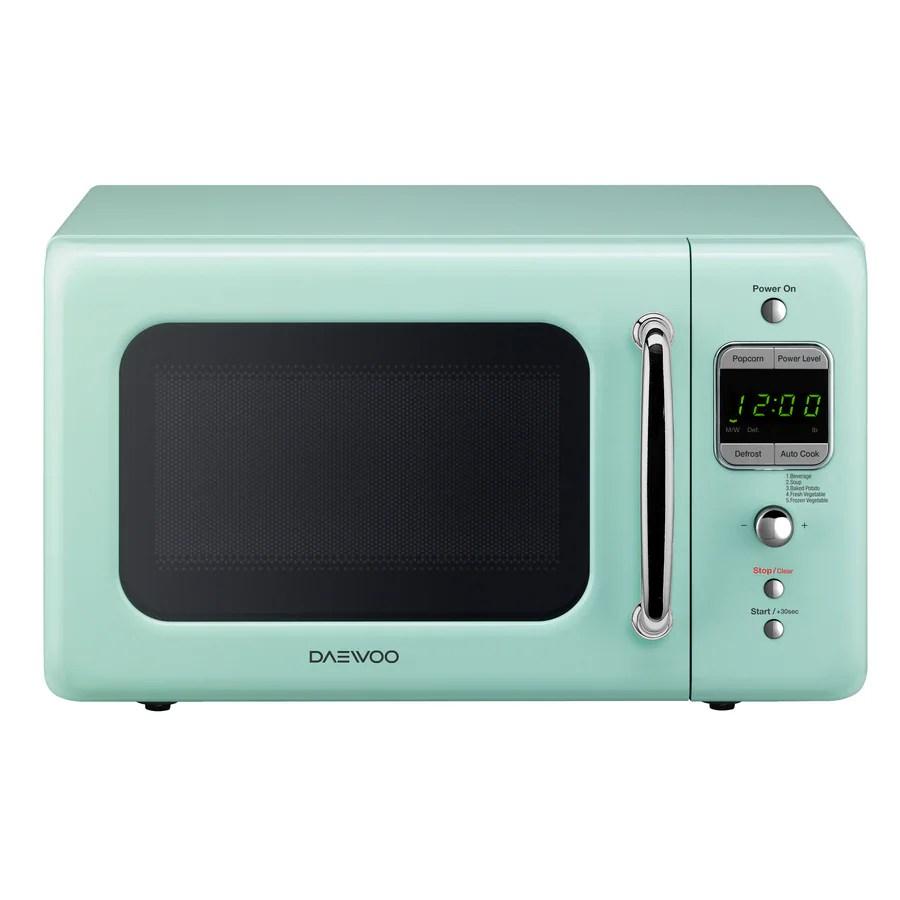 daewoo retro 0 7 cu ft 700 watt countertop microwave mint green