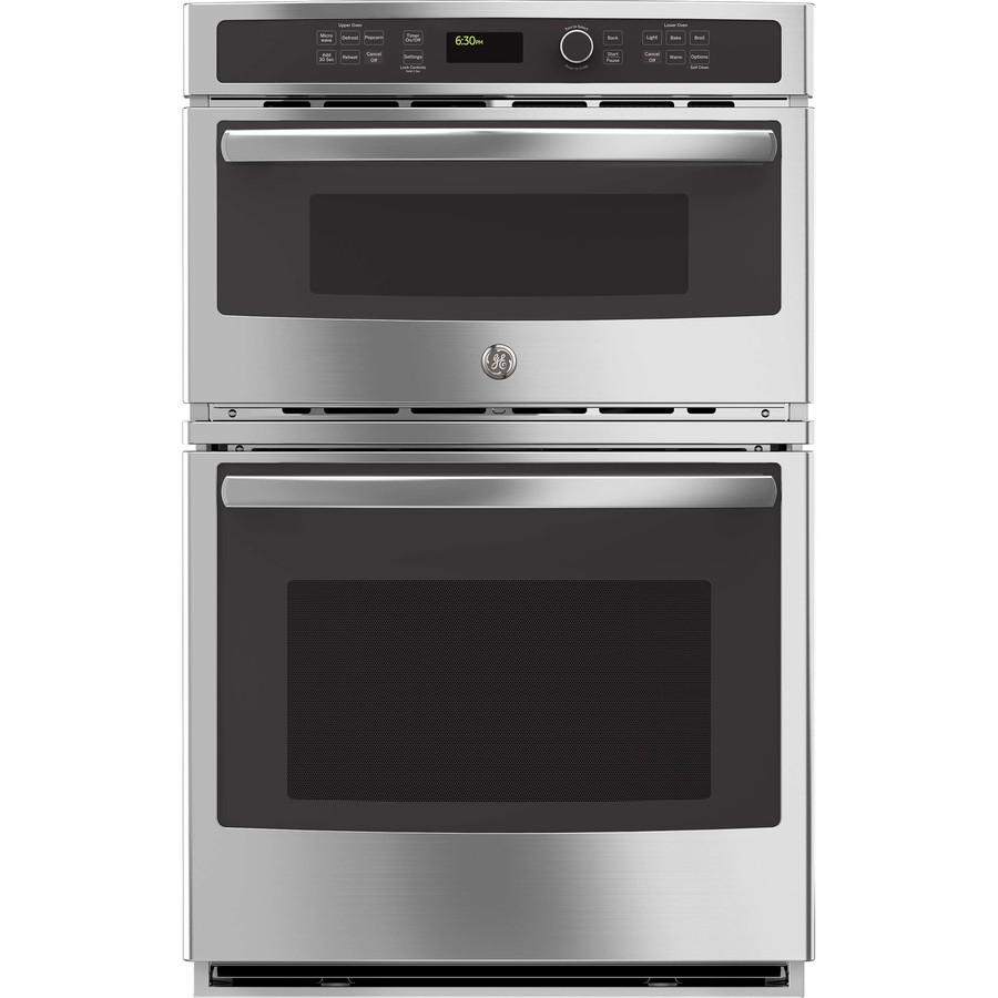 ge 27 in self cleaning microwave wall oven combo stainless steel