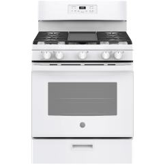 Lowes Kitchen Stoves Memory Foam Rug Ge 5 Burner Freestanding Cu Ft With Steam Gas Range White Common 30 Inch Actual In