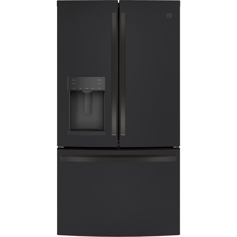 ge 27 8 cu ft french door refrigerator with ice maker black slate lowes com