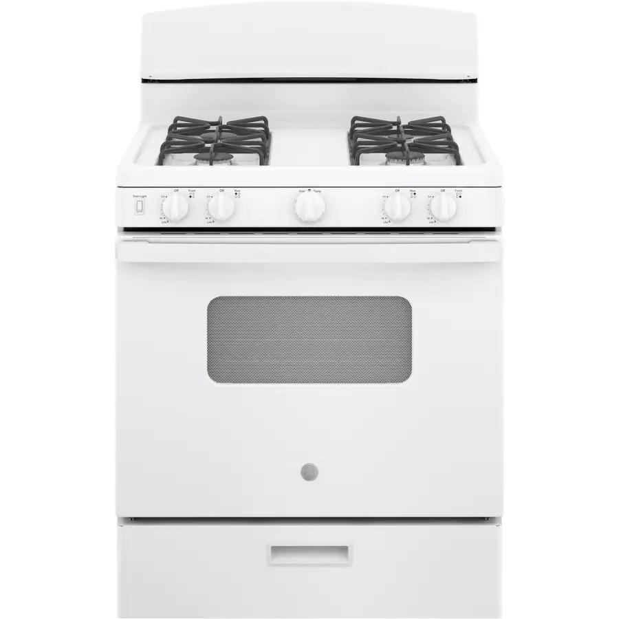 medium resolution of ge freestanding 4 8 manual cleaning gas range white actual 30