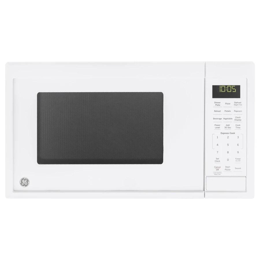 ge 0 9 cu ft 900 watt countertop microwave white lowes com