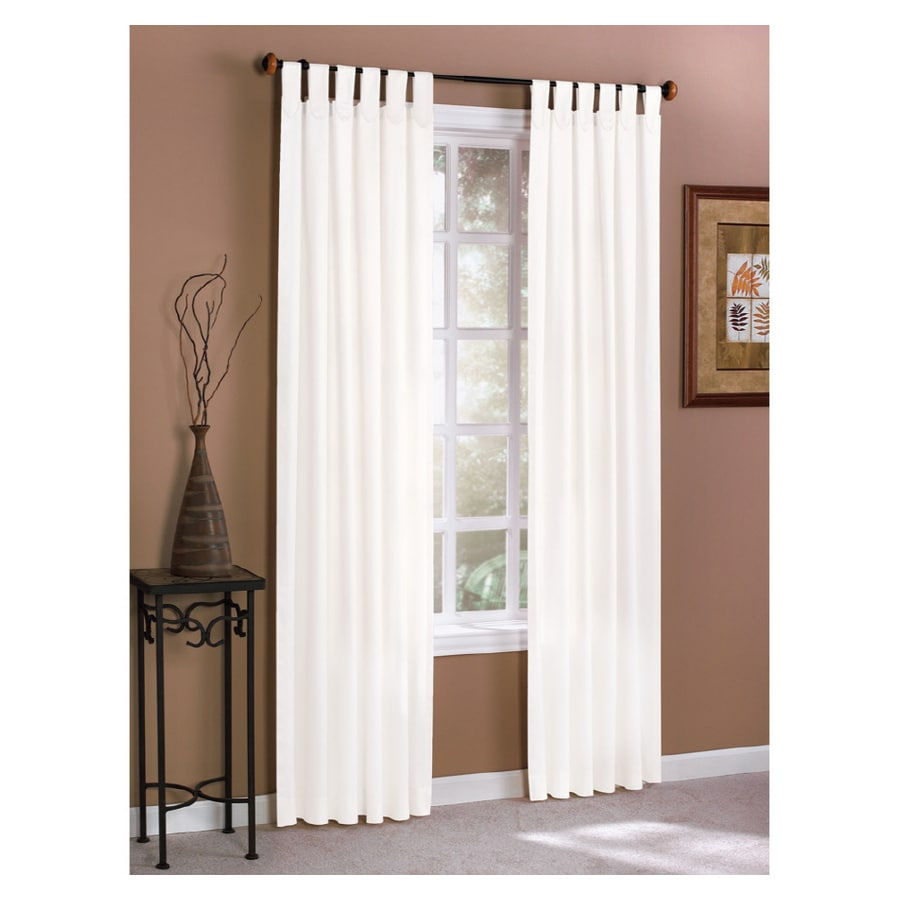 style selections twill solid 84 in l solid white tab top curtain panel