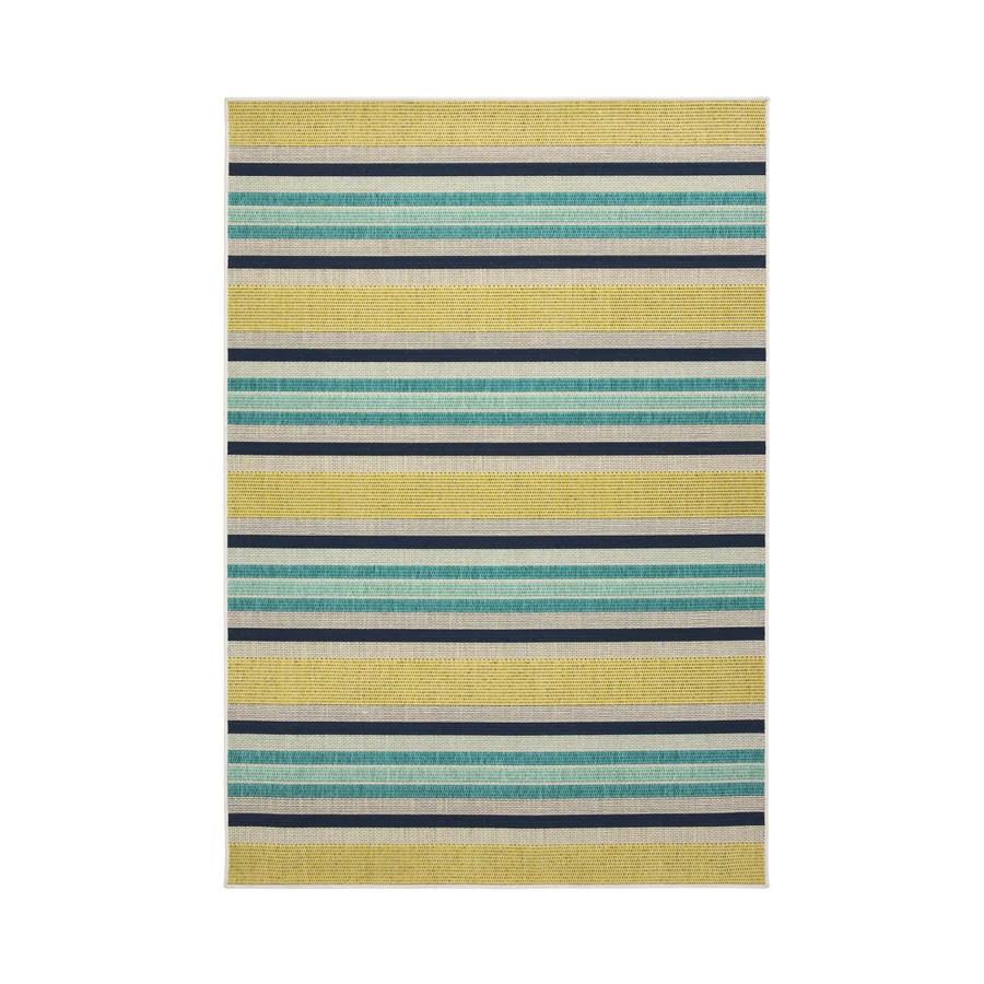 allen roth outdoor collection 5 x 8 teal indoor outdoor stripe coastal area rug