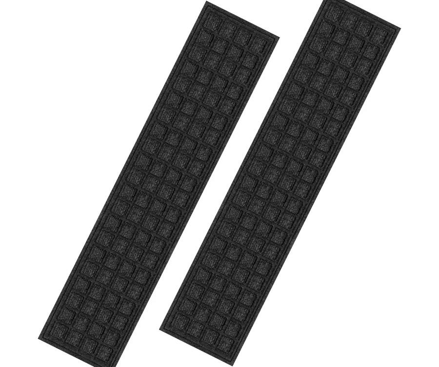 Blue Hawk Black Rectangular Outdoor Stair Tread Mat Actual 9 In | Carpet Stair Treads Lowes | Diy | Underlay Carpet | Luxury Vinyl Stair | Residential | Non Slip