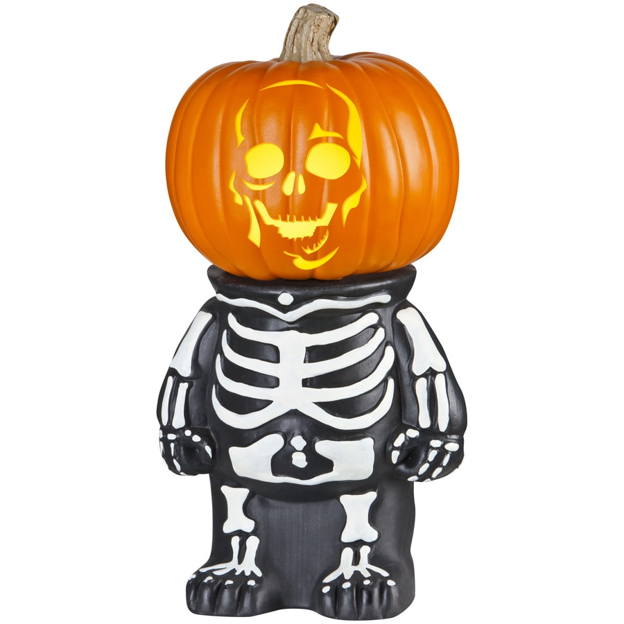 Gemmy Skeleton Pumpkin Stand In The Standing Halloween Decorations Department At Lowes Com