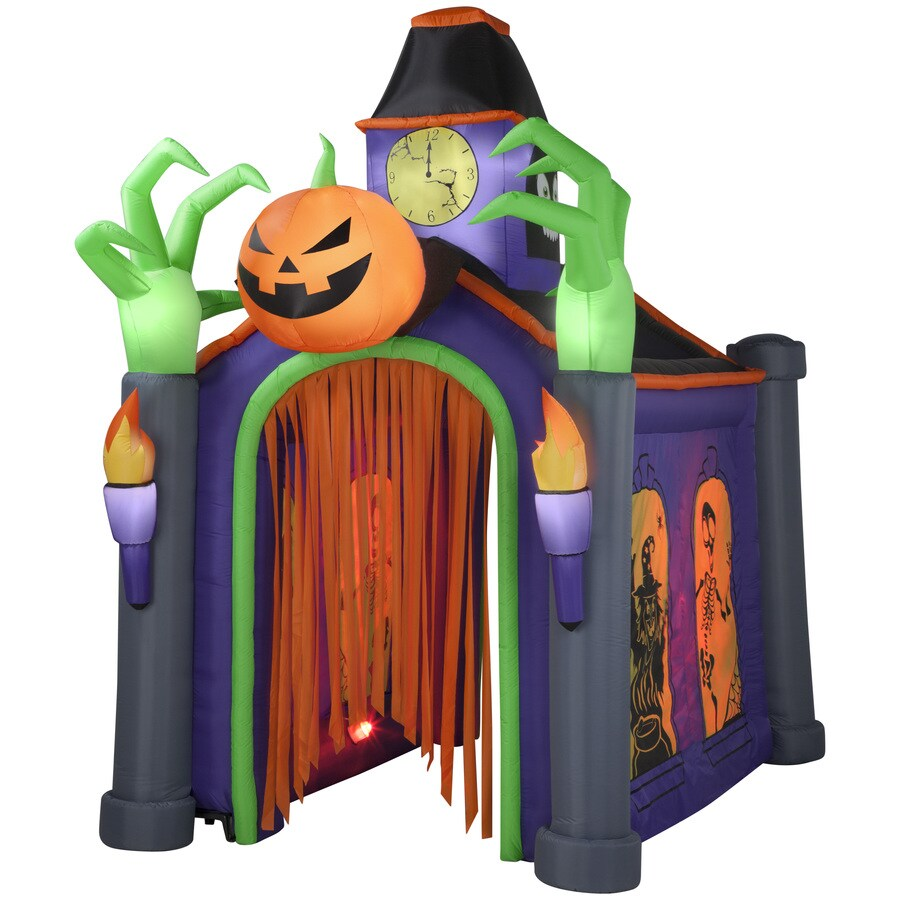 inflatable lawn chair foldable table and chairs outdoor shop holiday living 10.5-ft x 6.66-ft animatronic lighted musical haunted house halloween ...
