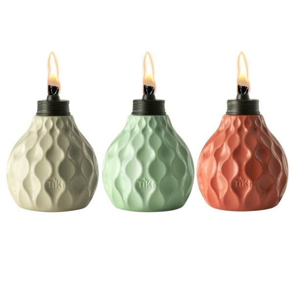 Tiki 3-pack 6-in Ivory Coral Blue Glass Tabletop Torch