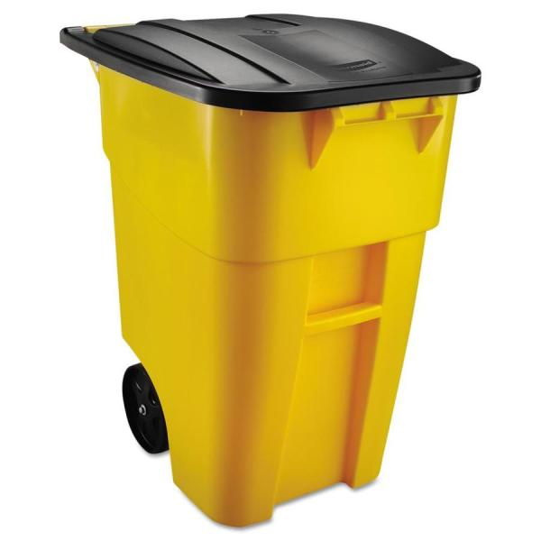 Rubbermaid Commercial Products Brute 50-gallon Yellow Plastic Outdoor Wheeled Trash