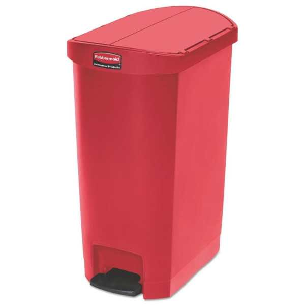 Rubbermaid Commercial Products Slim Jim 13-gallon Red Plastic Touchless Trash With Lid