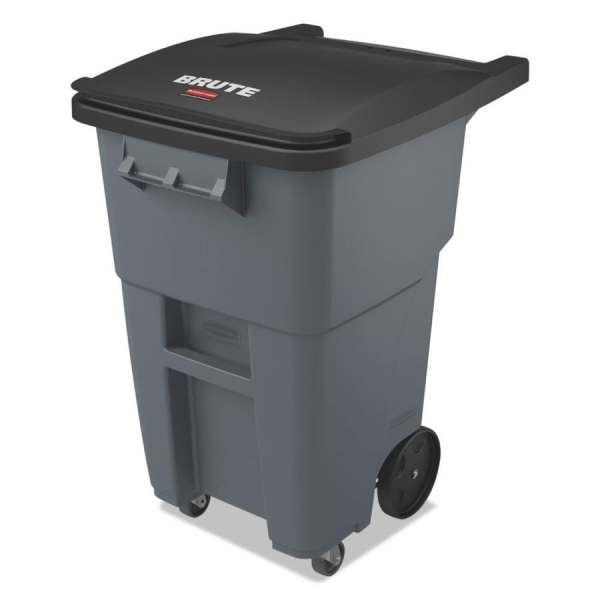 Rubbermaid Commercial Products Brute 50-gallon Gray Plastic Wheeled Trash With Lid