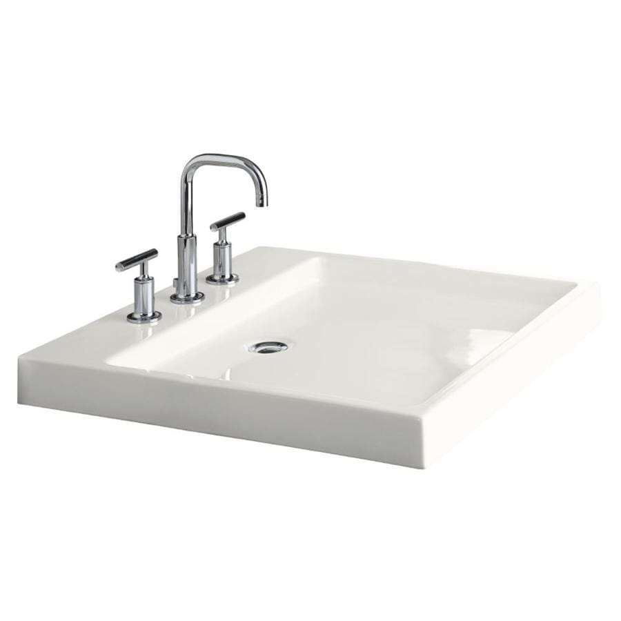 KOHLER Purist White Fire Clay DropIn Rectangular Bathroom Sink with Overflow Drain at Lowescom