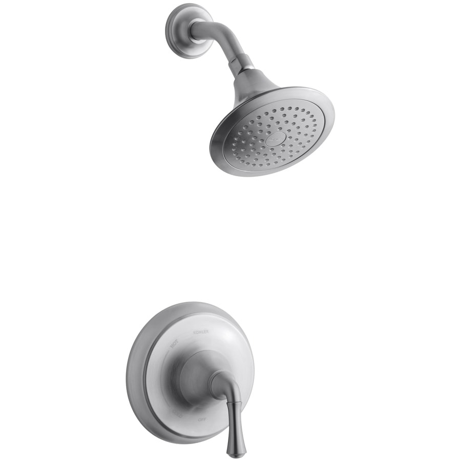 Shop KOHLER Forte Brushed Chrome 1Handle Shower Faucet Trim Kit with Single Function Showerhead