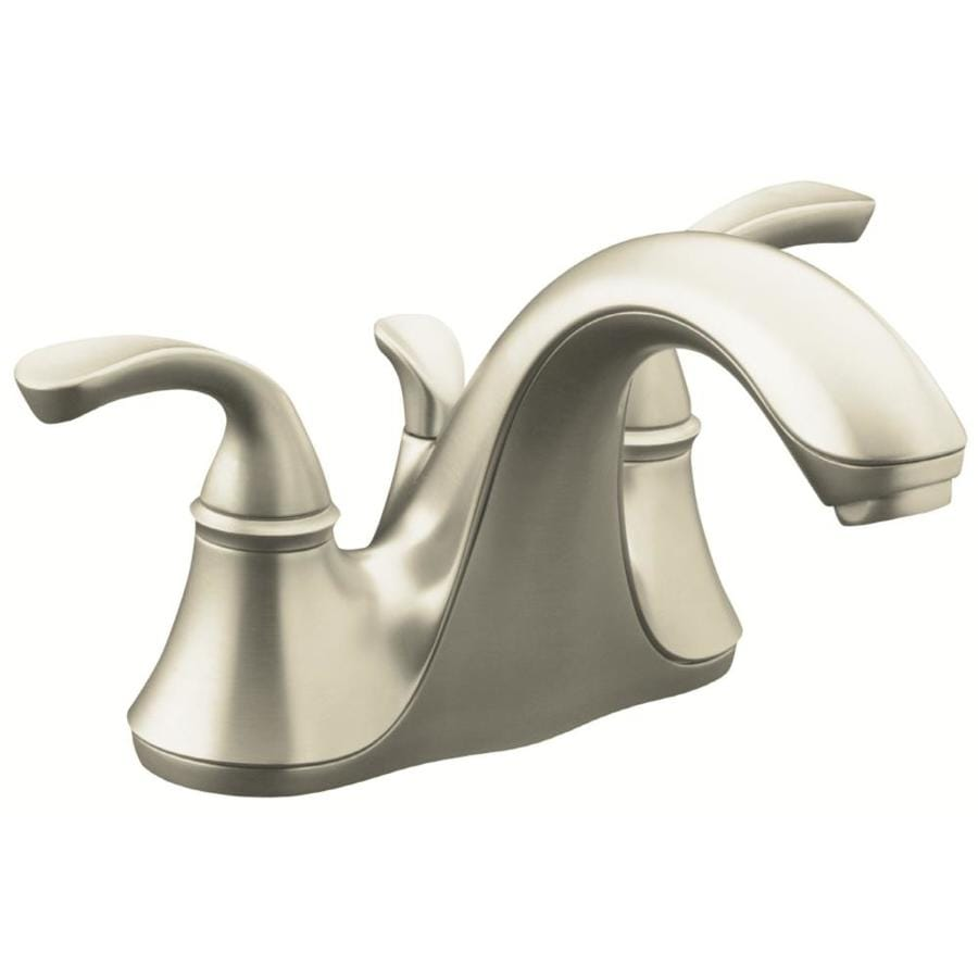 kohler forte vibrant brushed nickel 2 handle 4 in centerset watersense bathroom sink faucet with drain