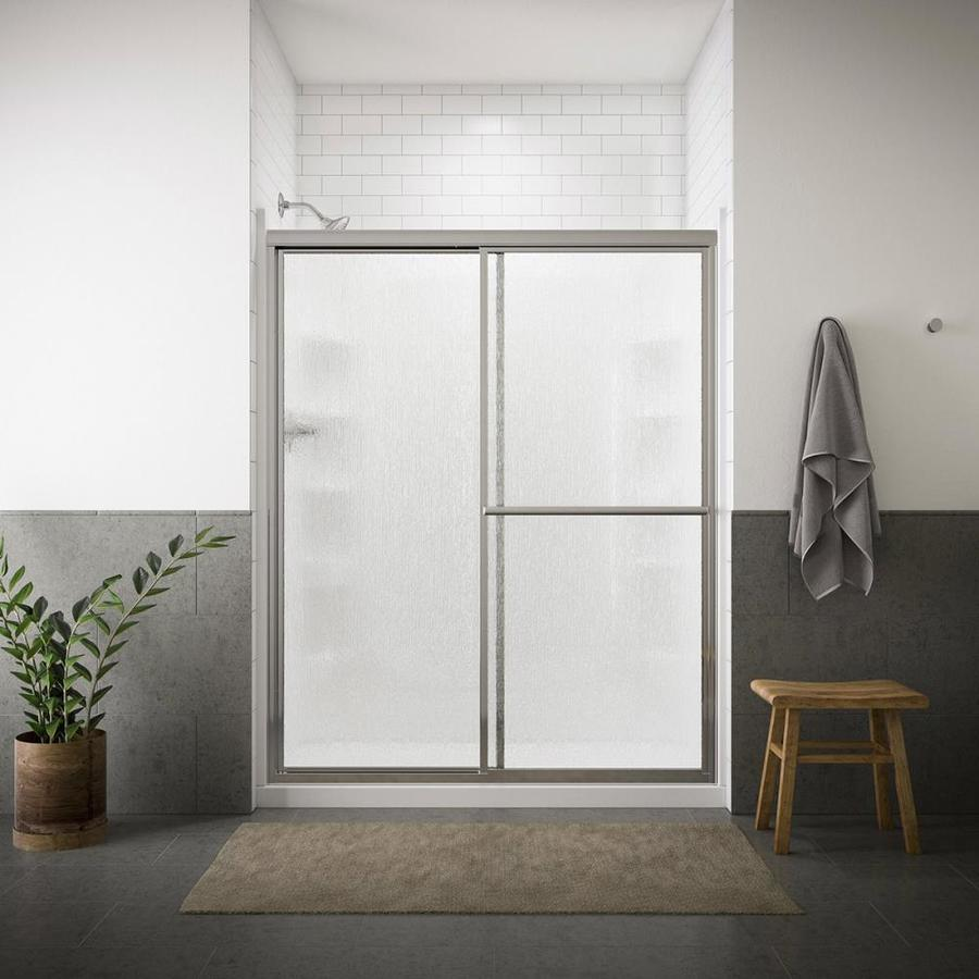 Sterling Deluxe 39in to 44in W Framed Silver BypassSliding Shower Door at Lowescom