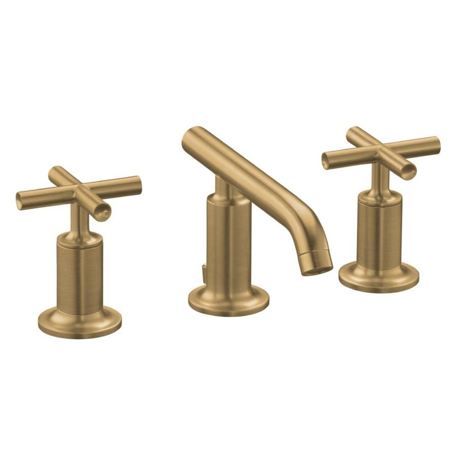 kohler purist vibrant brushed bronze 2 handle widespread watersense bathroom sink faucet with drain in the bathroom sink faucets department at lowes com