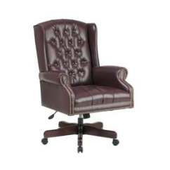 Wood Office Chair Floating For Pool Chairs At Lowes Com Osp Home Furnishings Worksmart Jamestown Oxblood Mahogany Traditional Executive