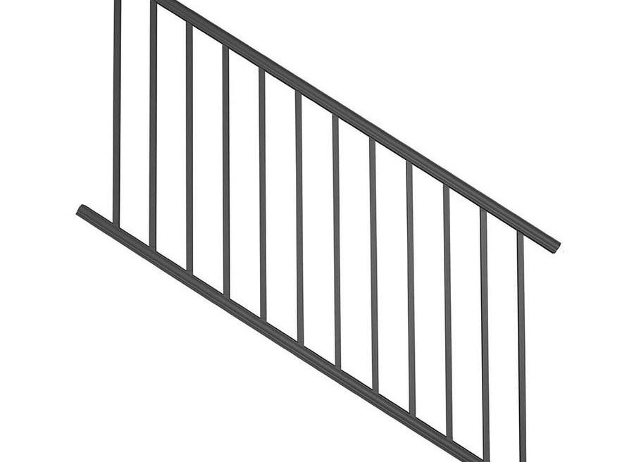 Deckorators Classic Aluminum Satin Black Aluminum Deck Stair Rail | Lowes Exterior Stair Railing | Composite Decking | Matte Black Aluminum Railing | Railing Systems | Metal | Porch