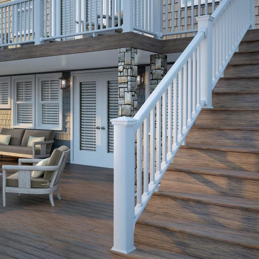 Deckorators Grab And Go Stair White Composite Deck Rail Kit With | Outside Stair Railing Lowes | Wood | Composite Decking | Outdoor Living | Handrail Kit | Stair Parts