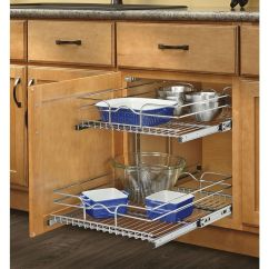 Sliding Drawers For Kitchen Cabinets Small Island With Storage Rev A Shelf 17 75 In W X 19 H Metal 2 Tier Pull Out Cabinet Basket