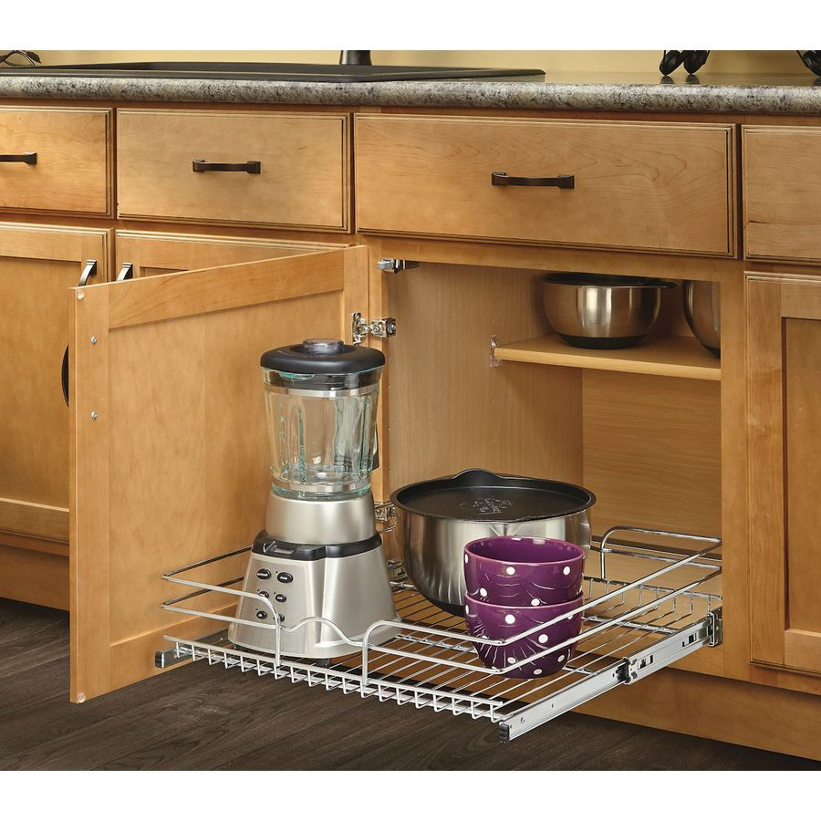 pull out kitchen cabinet discount cabinets rev a shelf 20 5 in w x 7 1 tier metal basket at lowes com