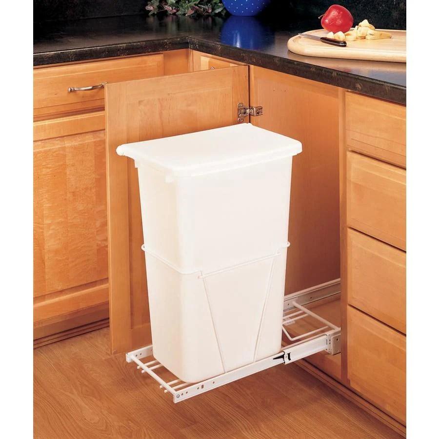kitchen trash can pull out sink soap and sponge holder rev a shelf 50 quart plastic at lowes com