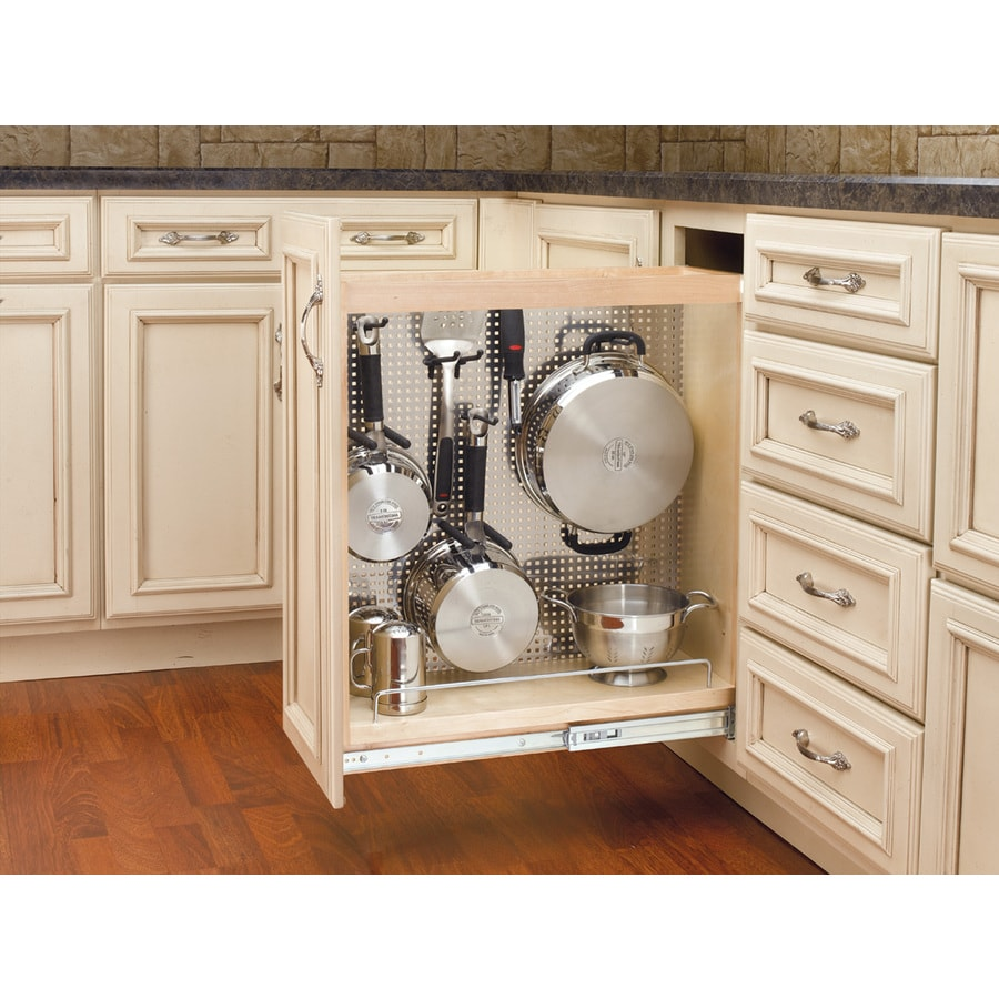 kitchen pantry cabinet lowes cabinets shop rev-a-shelf 8-in w x 25.5-in 1-tier wood ...
