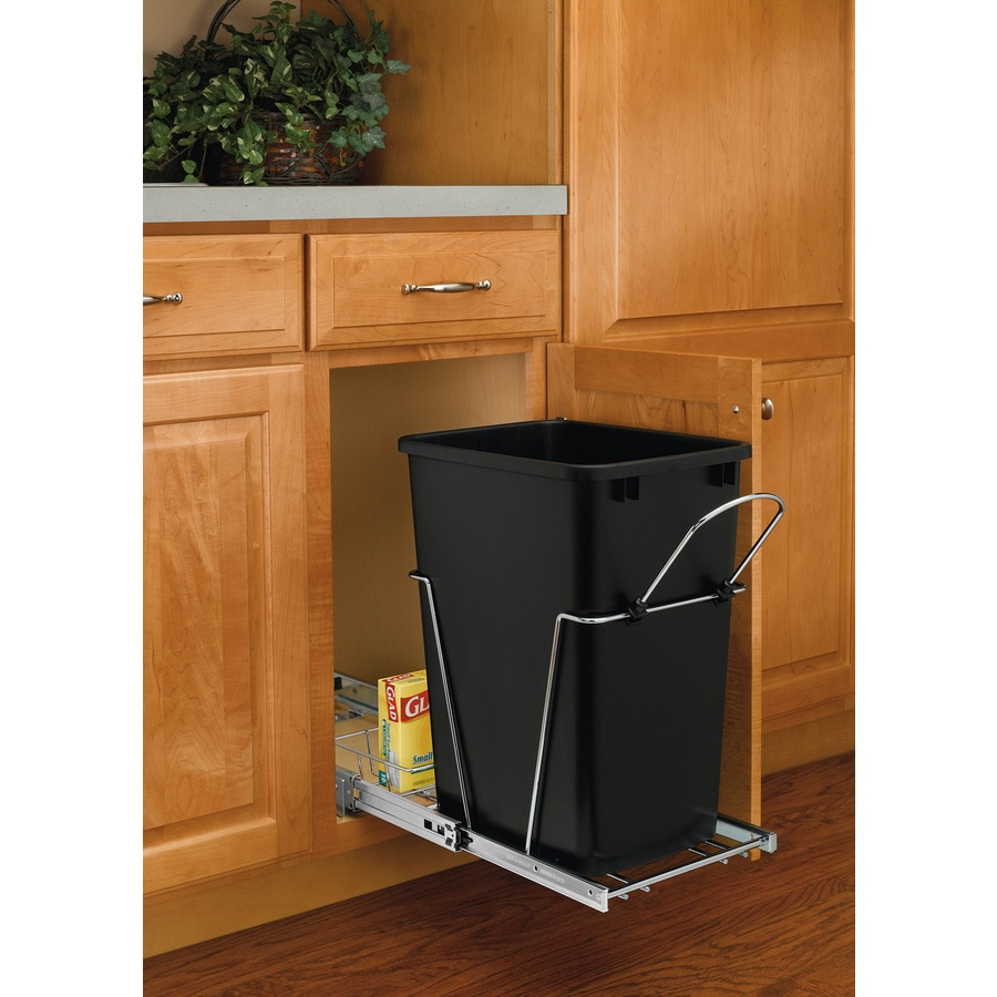 kitchen pantry cabinet lowes cabinets at home depot shop rev-a-shelf 35-quart plastic pull out trash can ...