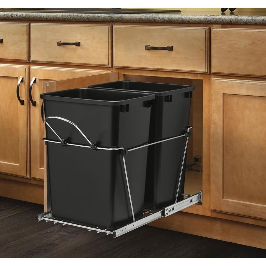 trash cans kitchen ikea table with drawers rev a shelf 35 quart plastic pull out can at lowes com