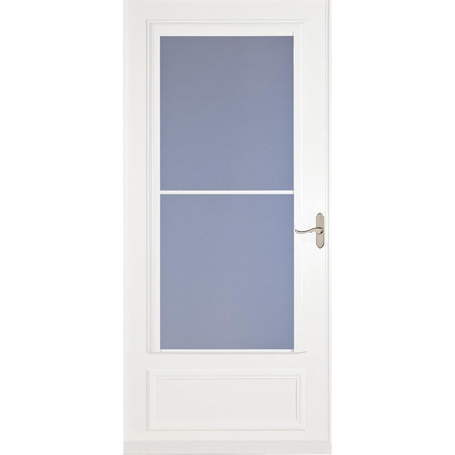 Larson Savannah White Mid View Wood Core Storm Door