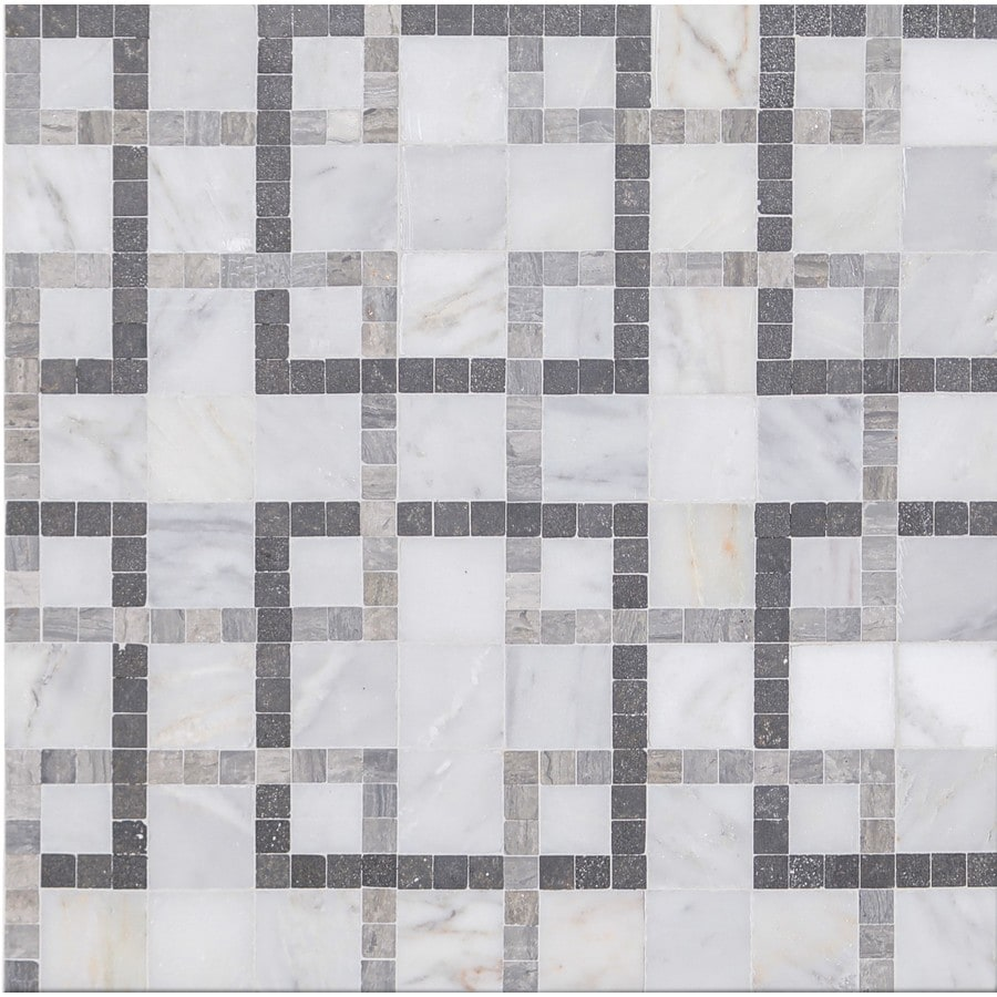 gbi tile stone inc patchwork grey honed 11 in x 11 in honed natural stone marble linear patterned floor and wall tile