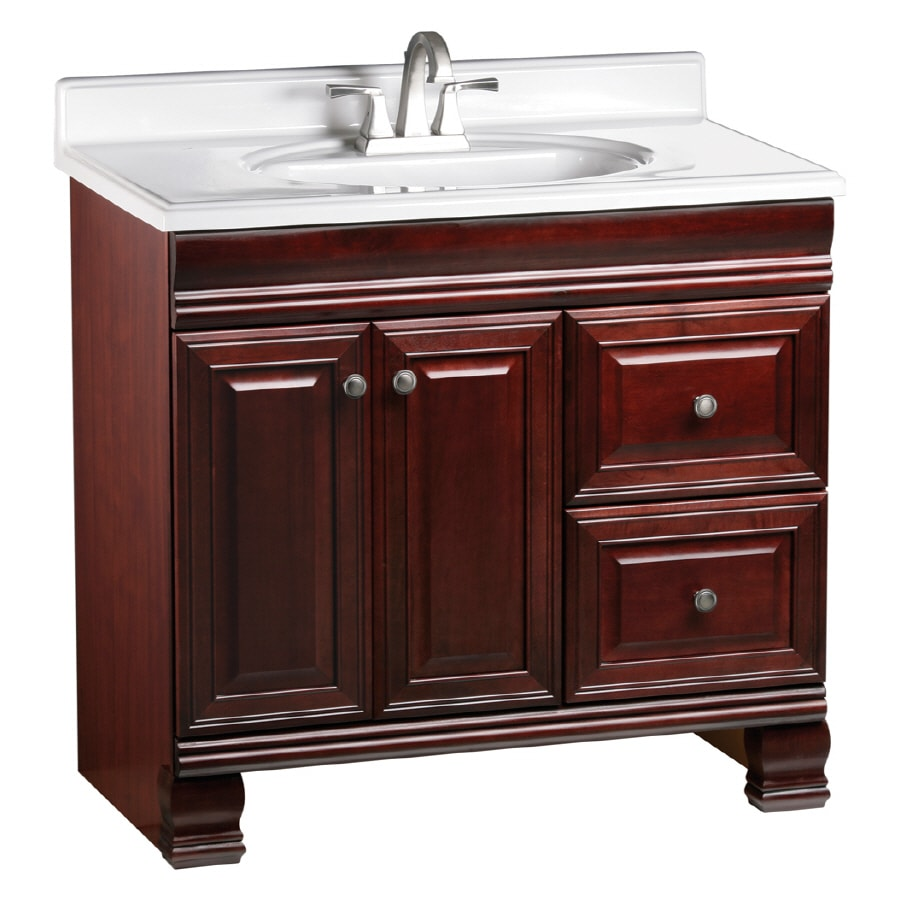 ESTATE by RSI Cambridge Burgundy 36in Traditional Bathroom Vanity at Lowescom