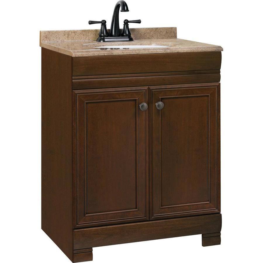 Style Selections Windell 245in Auburn Single Sink Bathroom Vanity with Kona Solid Surface Top