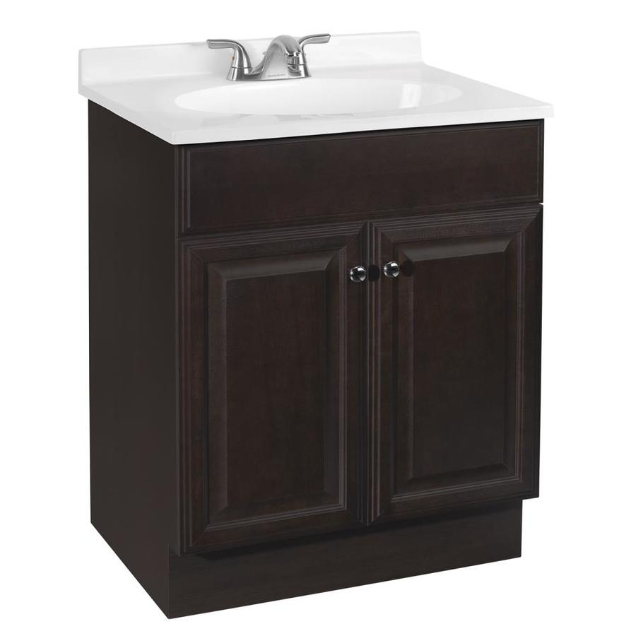 Shop Project Source Java Integral Single Sink Bathroom Vanity with Cultured Marble Top Common