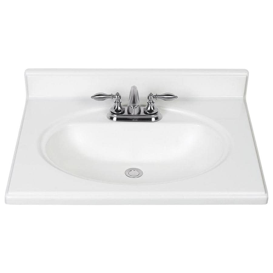 Shop White Cultured Marble Integral Single Sink Bathroom Vanity Top Common 25in x 22in