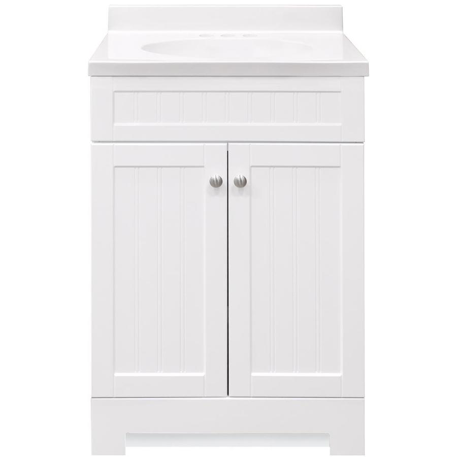 style selections ellenbee 24 in white single sink bathroom vanity with white cultured marble top