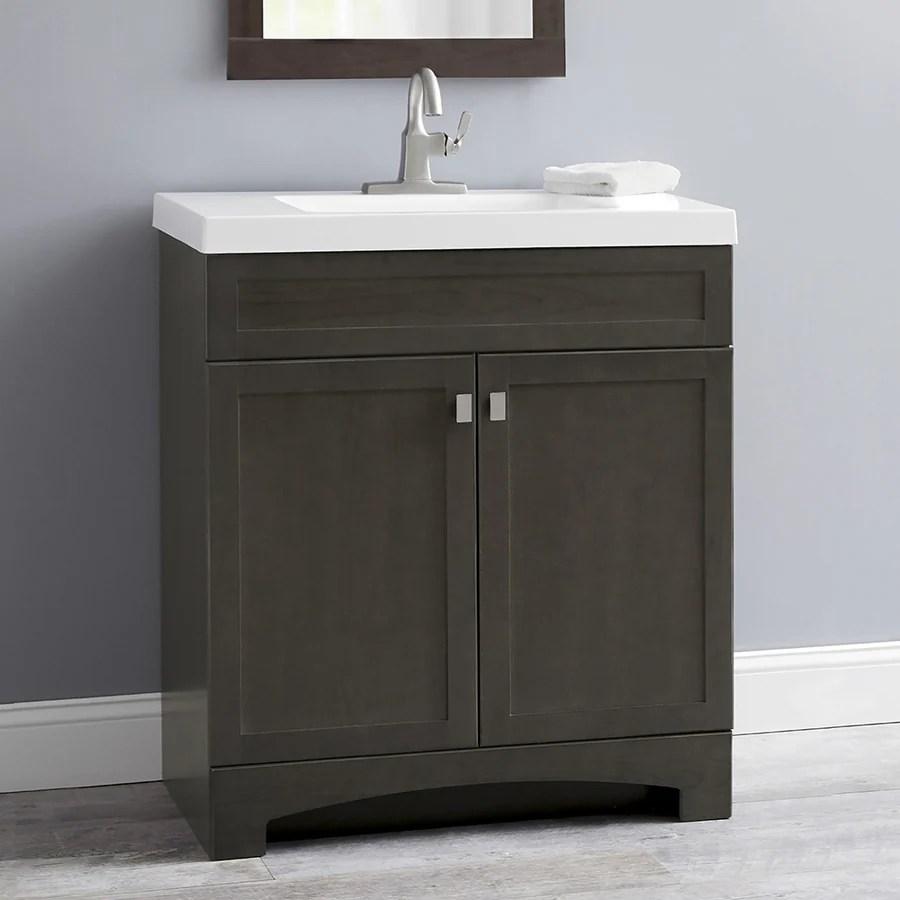 Shop Style Selections Drayden Gray Integral Single Sink Single Sink Bathroom Vanity with