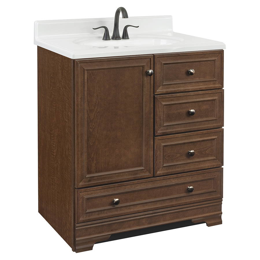 Project Source Bark Traditional Bathroom Vanity Common 30in x 22in Actual 30in x 21in