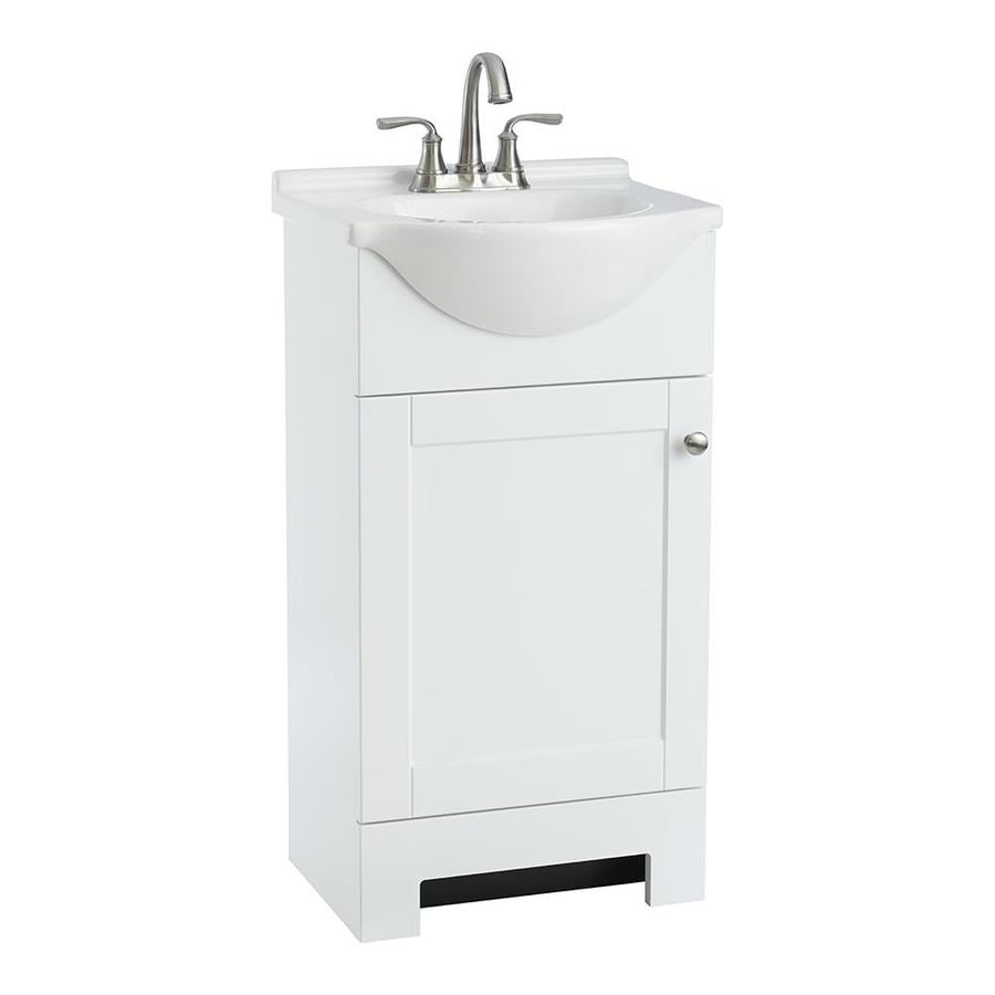 Style Selections Euro  In White Single Sink Bathroom Vanity With White Cultured Marble Top