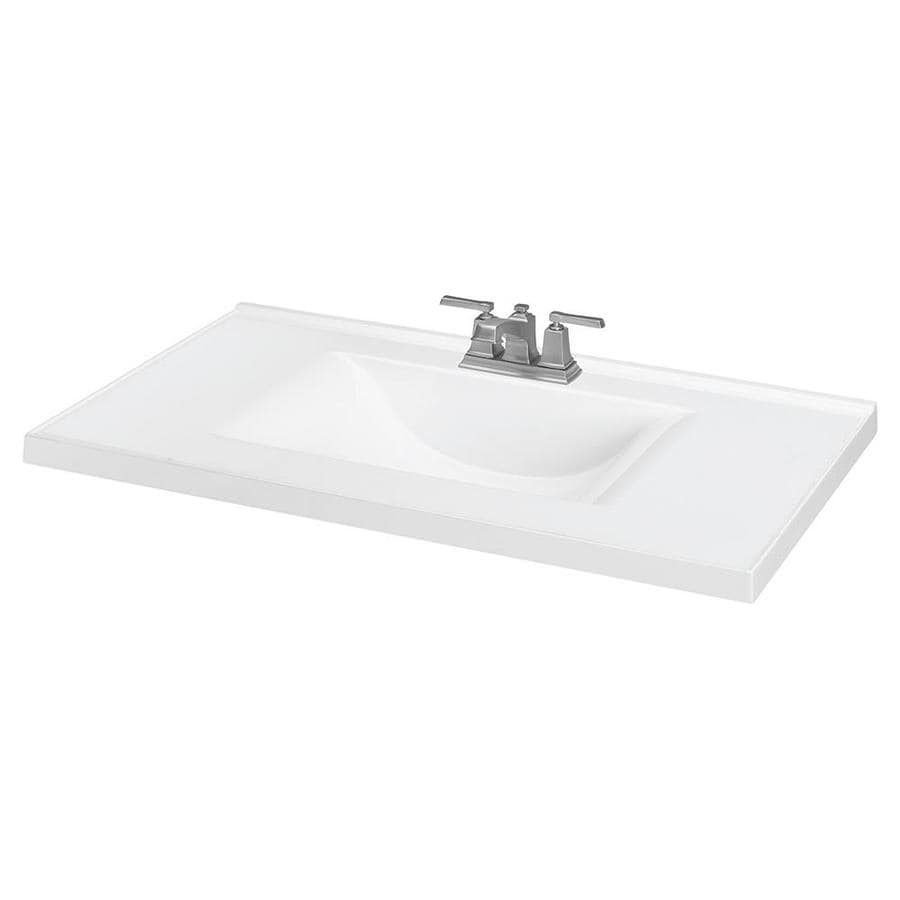 37in White Cultured Marble Bathroom Vanity Top at Lowescom